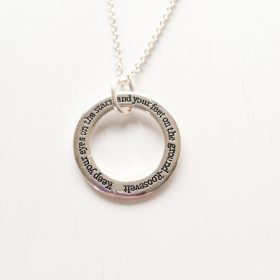 Keep your eyes on the stars silver inspirational necklace